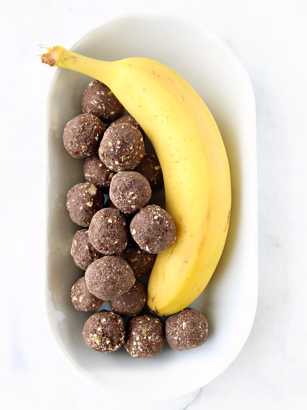 Banana hugging protein bites