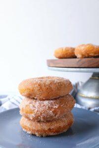 a serving of cinnamon sugar pumpkin donuts