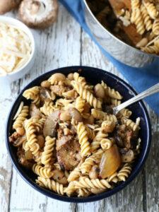 bowl full of vegan skillet pasta