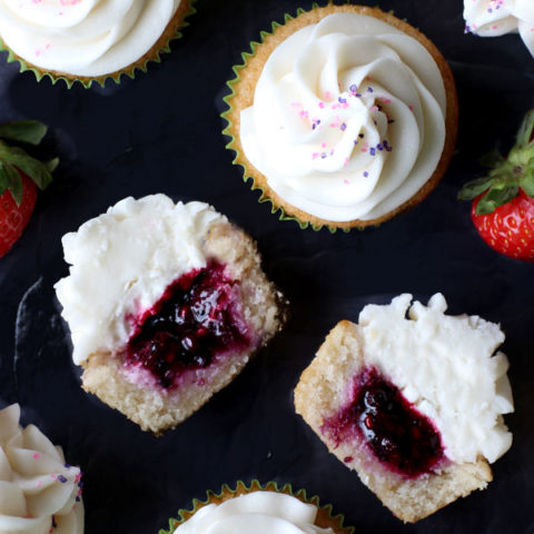 Berry Filled Vanilla Cupcakes