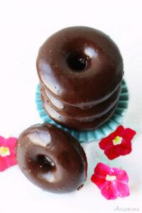 pretty glazed chocolate donuts