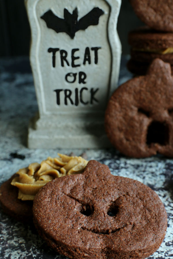 sneaky pumpkin chocolate sandwich cookies