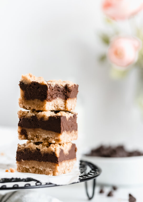 The Best Vegan Fudge Bars with Shortbread Crust