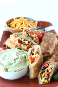 football parties and tex mex egg rolls