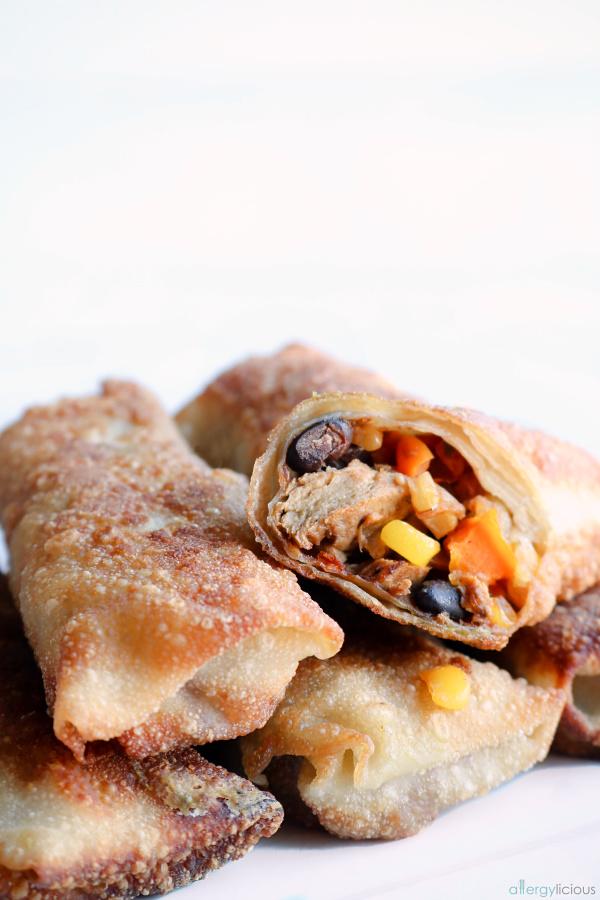 delicious, crispy vegan tex mex egg rolls