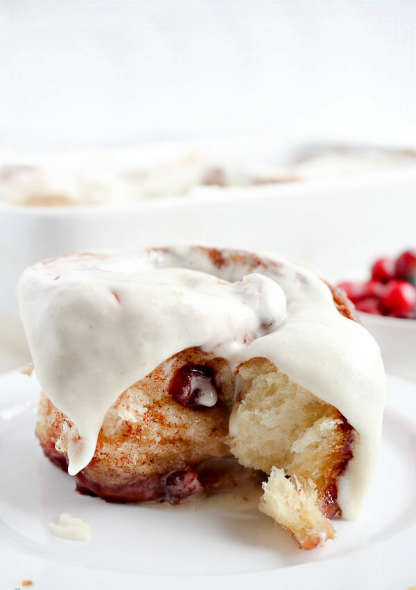 close up of cranberry cinnamon rolls
