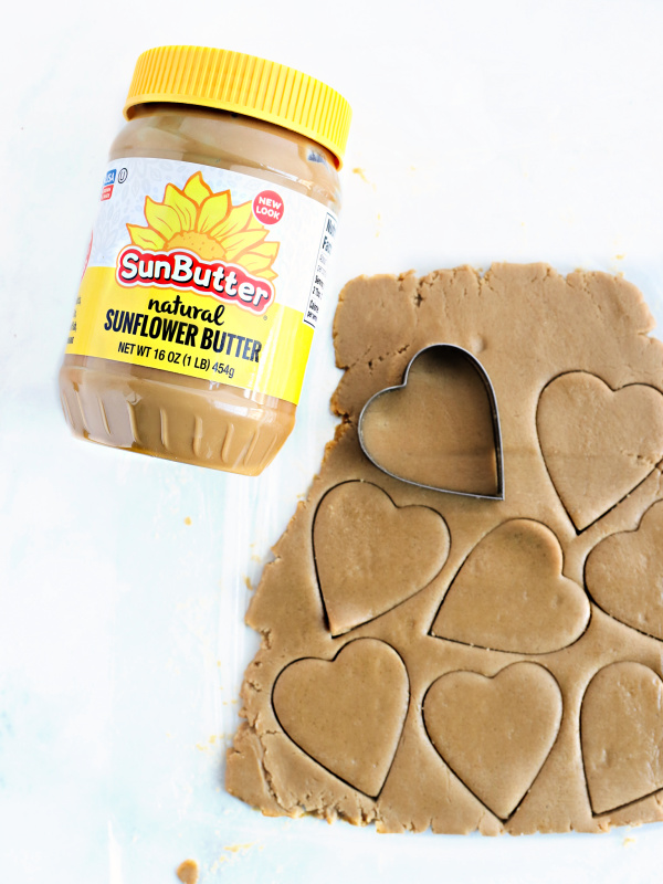Heart-shaped SunButter cookie dough