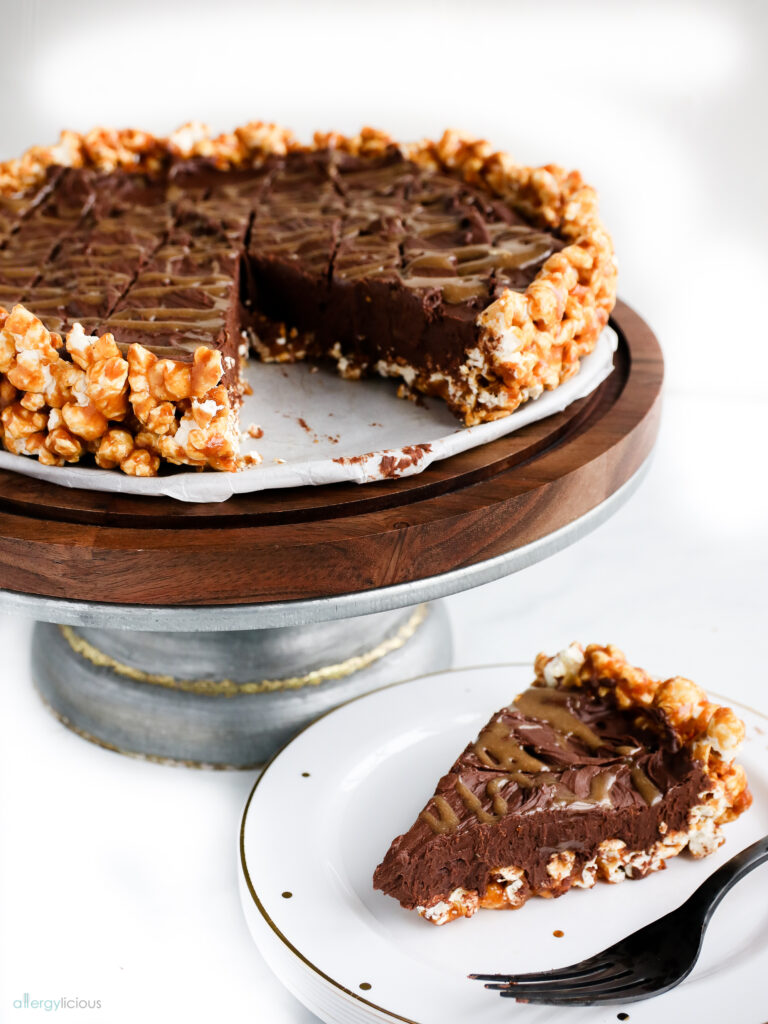 serving of dairyfree chocolate popcorn pie