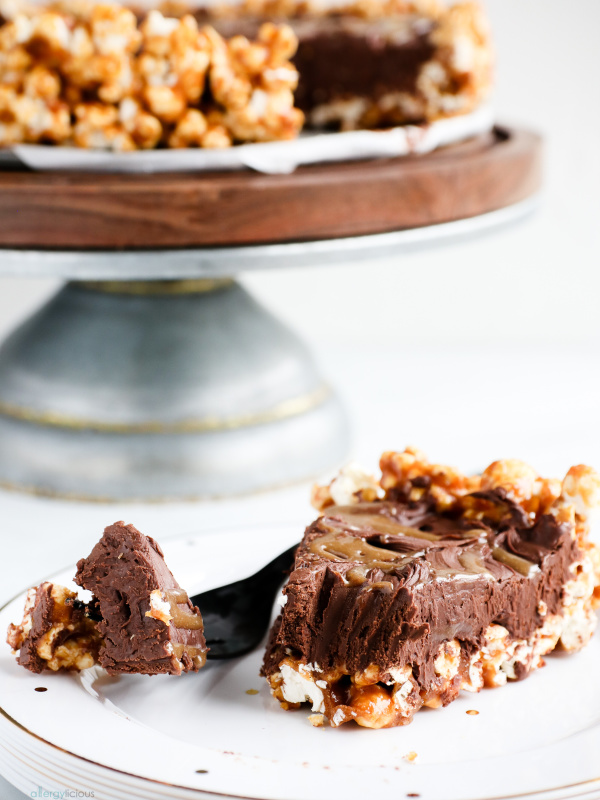 slice of chocolate popcorn pie