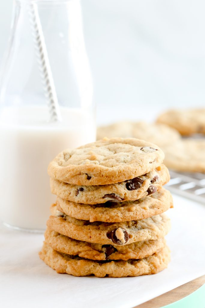Dairy-free & egg-free chocolate chip cookies with dairy-free milk