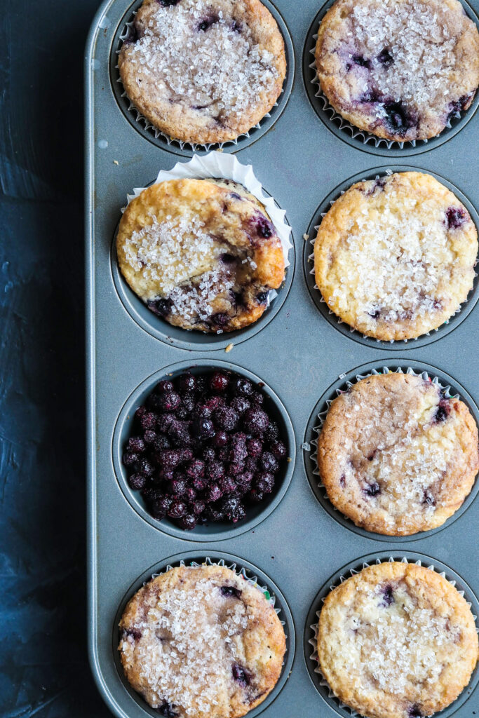 fresh vegan blueberry muffins