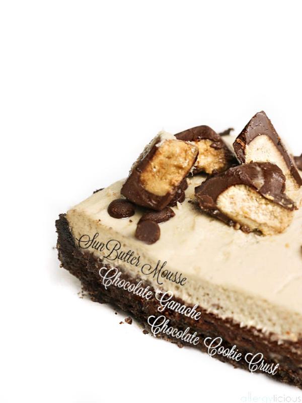 side of chocolate ganache sunbutter tart
