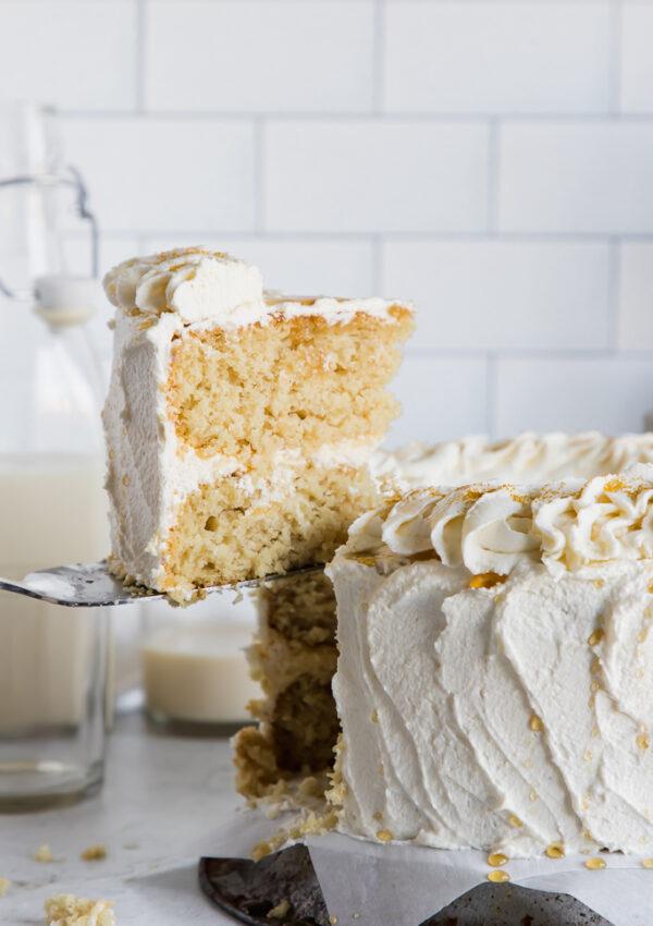 vegan vanilla layer cake