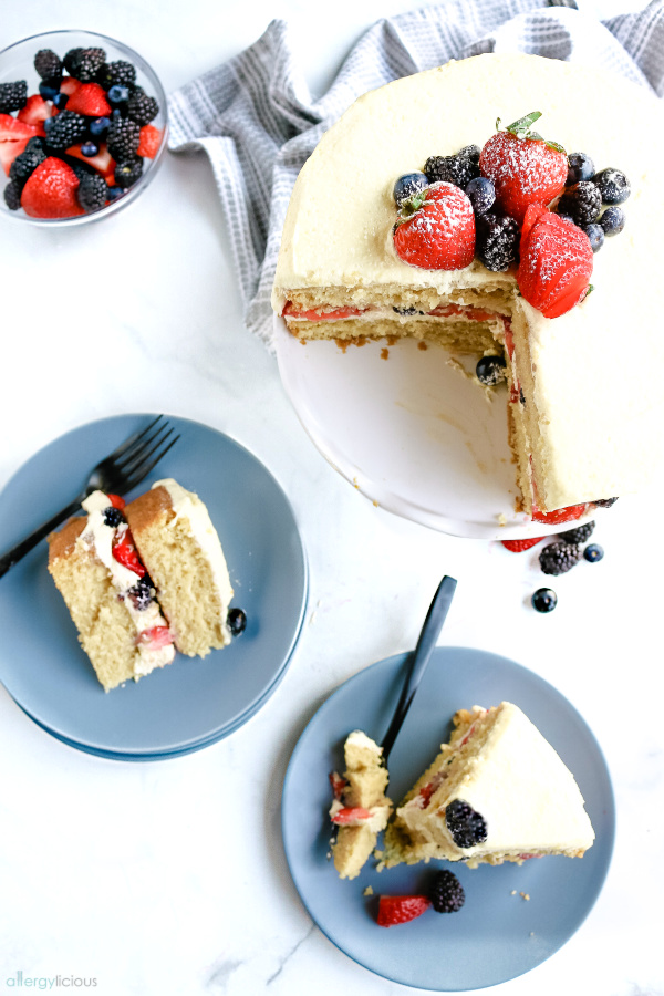 top shot of vegan vanilla layer cake