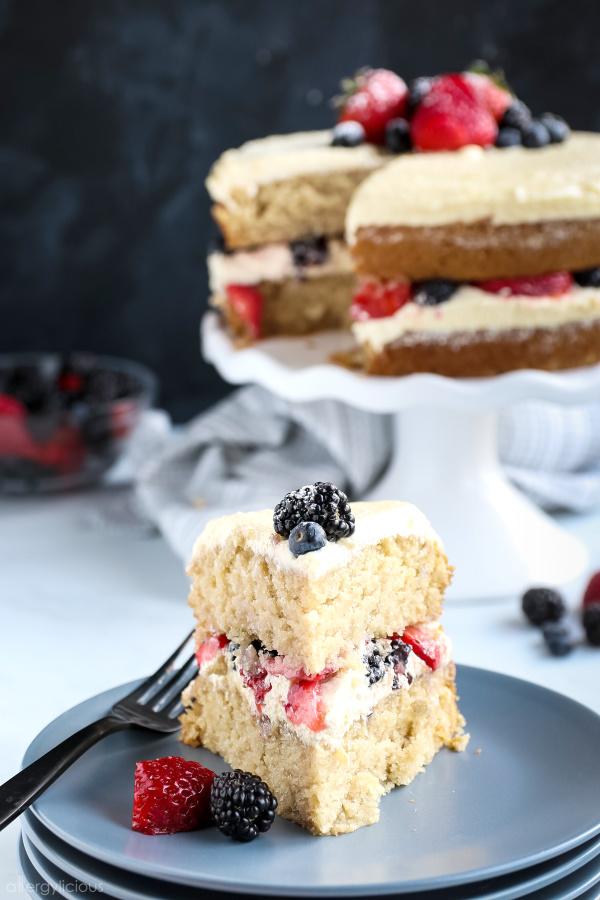 plated vegan vanilla cake