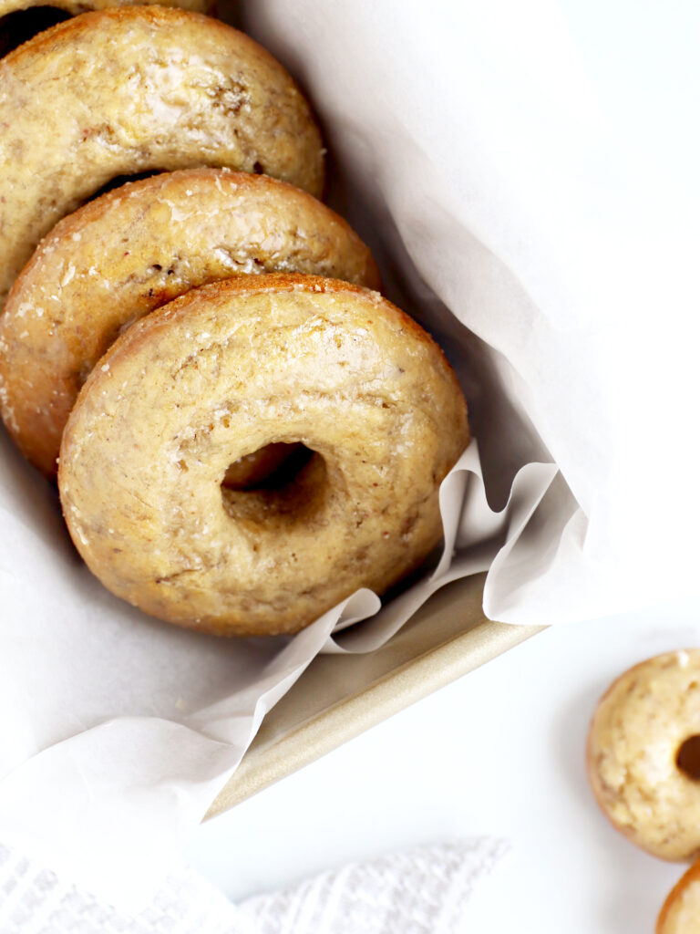 close up of vegan banana donuts