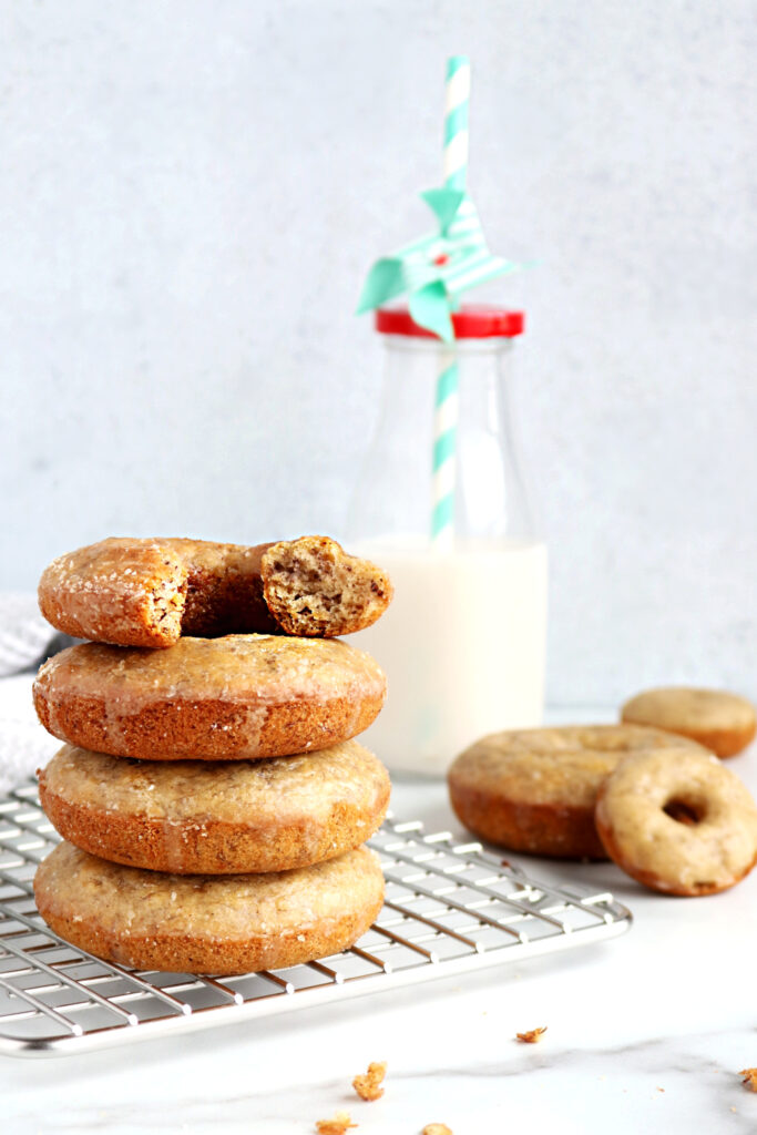 stacked allergy-friendly banana donuts