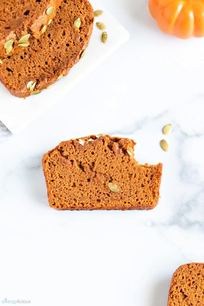 pepitas falling off bread loaf