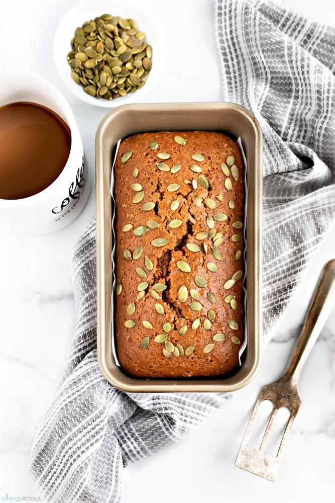 freshly baked nut-free vegan pumpkin loaf
