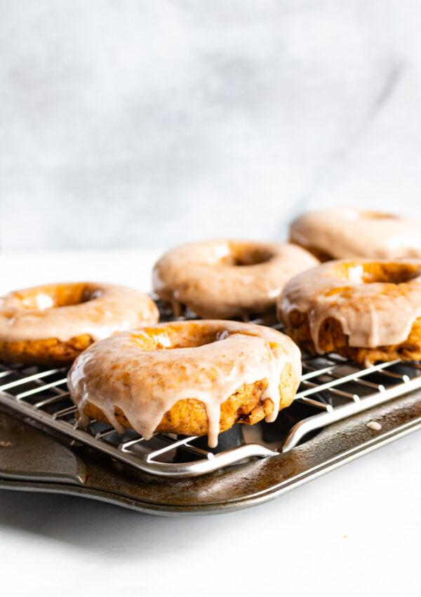 Baked Pumpkin Donuts with Maple Cinnamon Glaze