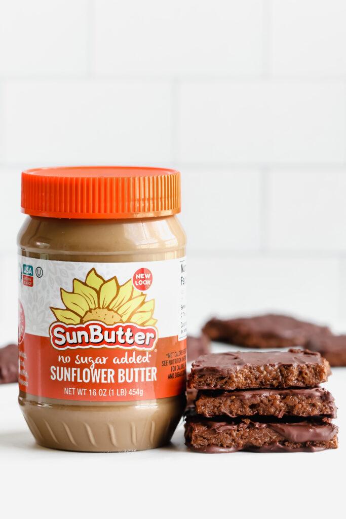 Sunbutter and chocolate vegan protein bars