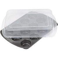 Wilton 2105-1372 Premium Nonstick Covered Muffin Pan, 12-Cavity
