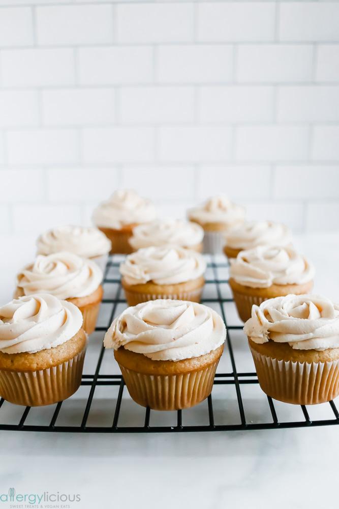 homemade dairy free peanut free salted caramel cupcake