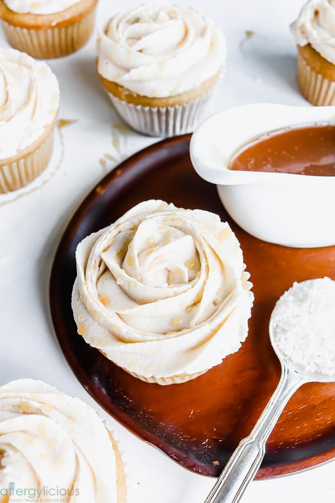 caramel infused salted caramel cupcake vegan