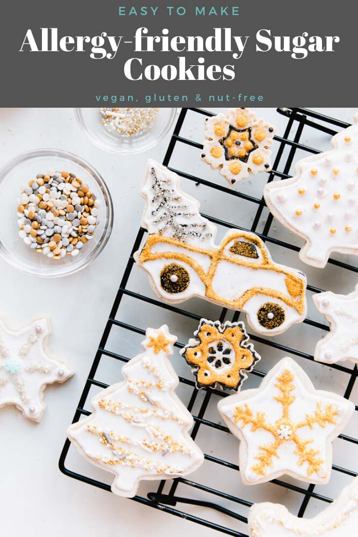 Soft, allergy-friendly sugar cookies are perfect for any holiday or celebration. Grab your favorite cookie cutters and let's get baking!|www.allergylicious.com|#vegancookies #allergyfriendly #nutfree #sugarcookie #rolloutcookie #christmascookies #glutenfree