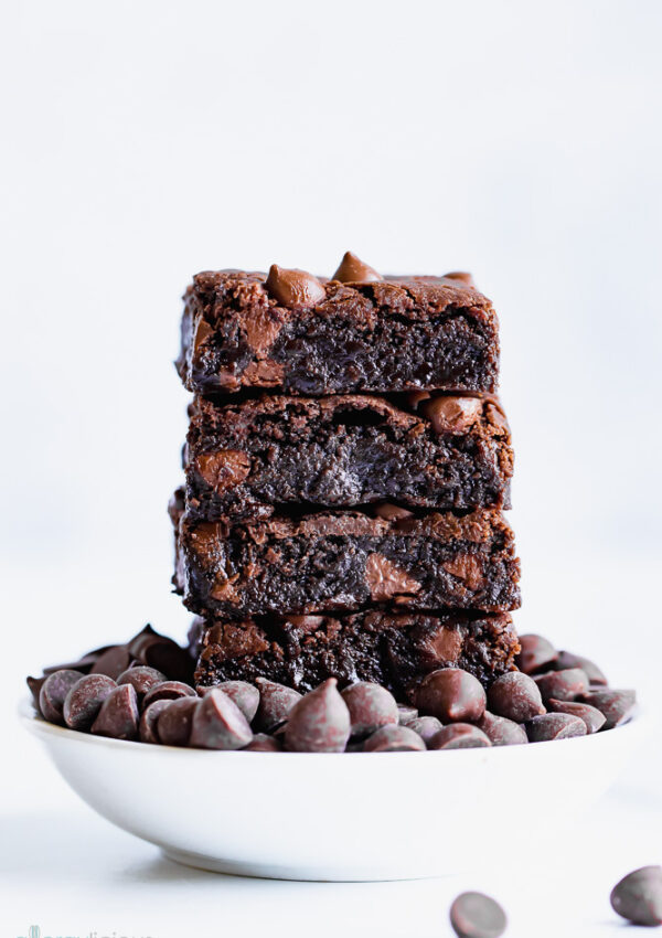 Gooey Triple Chocolate Brownies (vegan, gluten free, nut free)