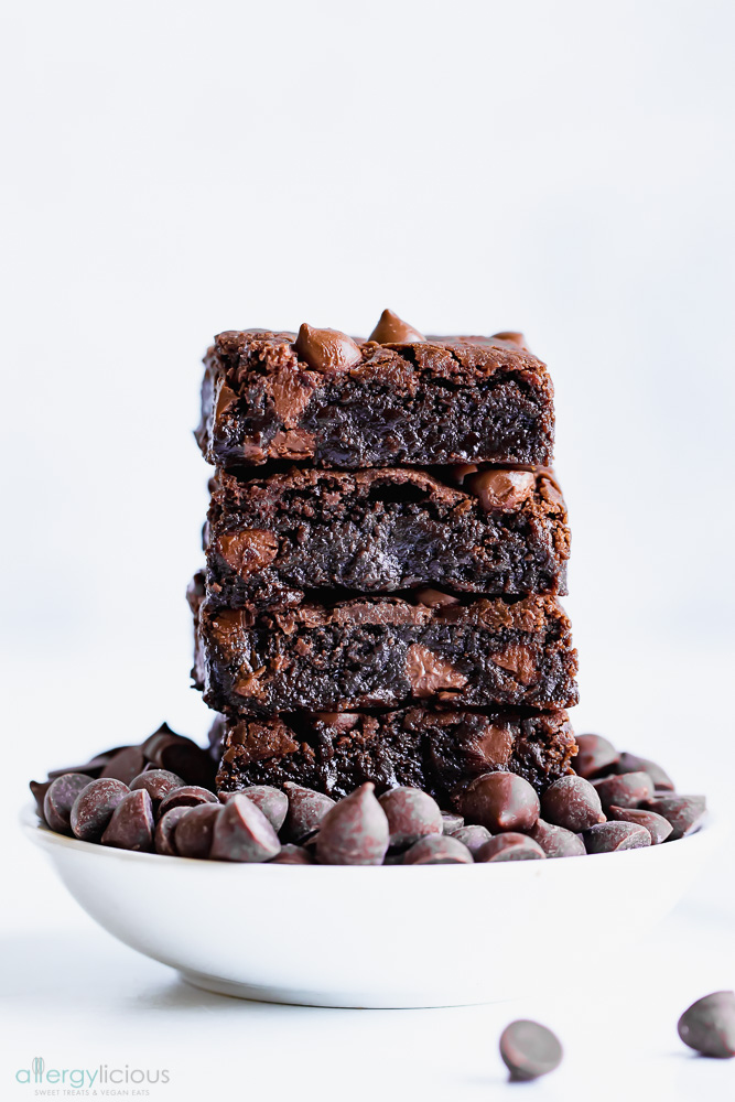 Stacked Chocolate Brownies, vegan