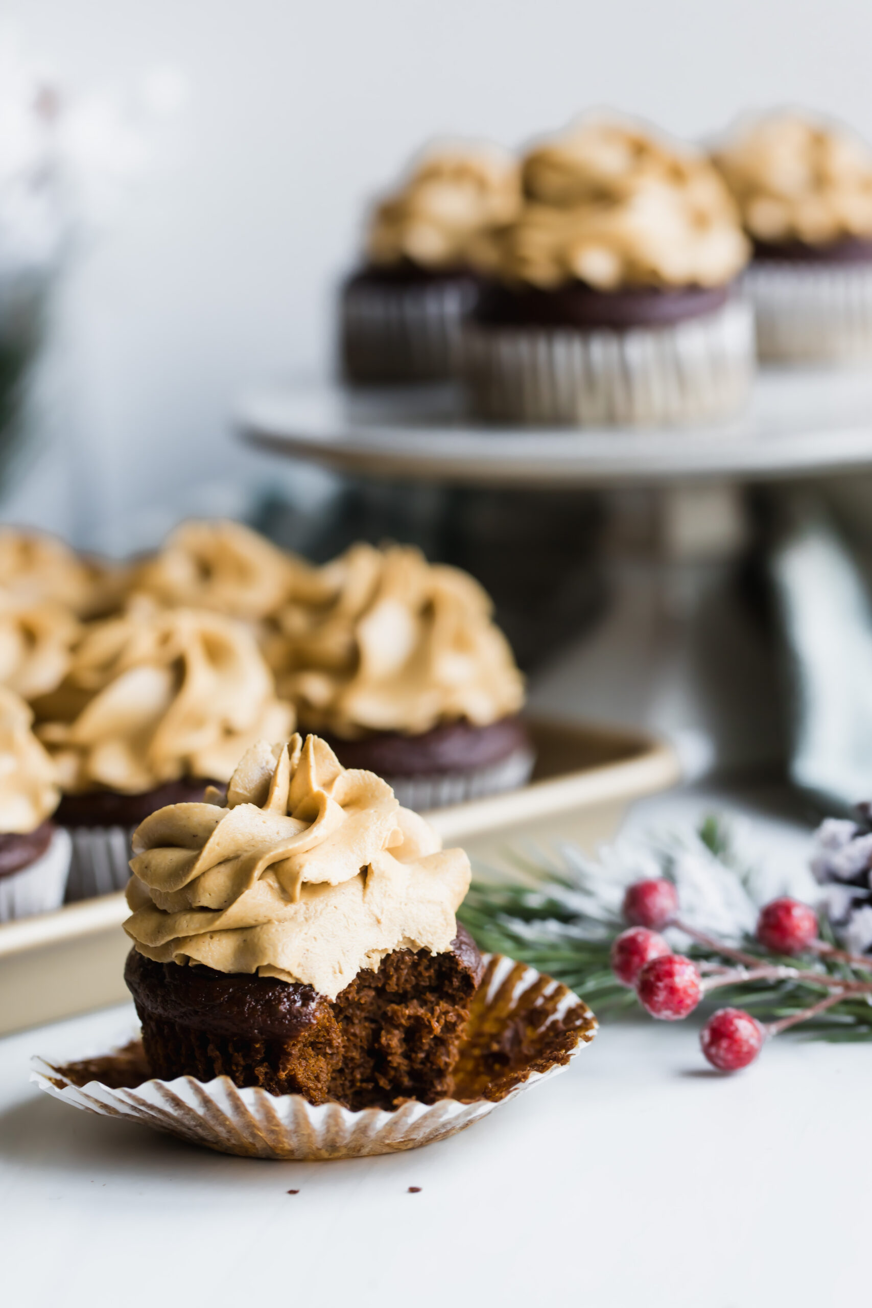 Vegan Gingerbread Cupcakes with Molasses Buttercream (gluten free option)