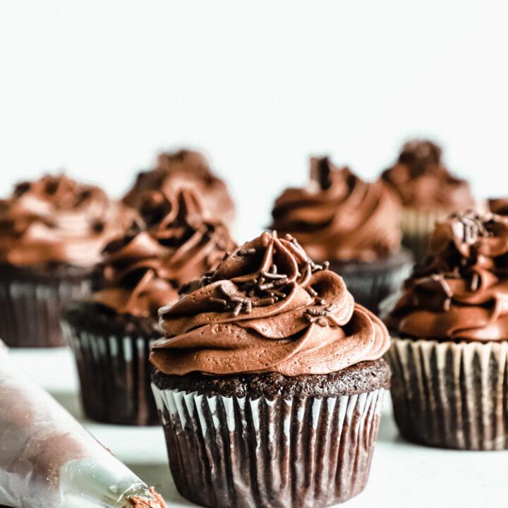 Vegan double chocolate cupcake
