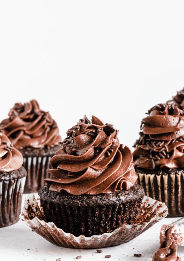 Super Moist Double Chocolate Cupcakes (Vegan + Gluten free Option)