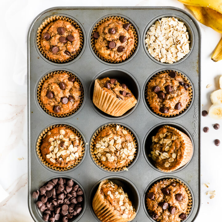 Oatmeal Banana Muffins with Chocolate Chips