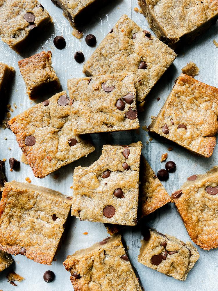 6 ingredient SunButter Blondies with Chocolate Chips